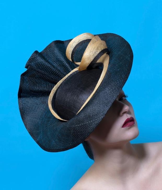 Isabella Josie Bespoke Millinery Black and Gold Statement Hat