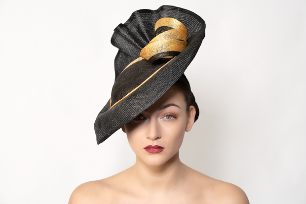 Black and Gold Large Brim Hat by Isabella Josie Millinery