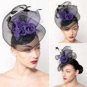 Charlotte, Black and Purple Crin Wedding Hat by Isabella Josie, West Sussex Milliner