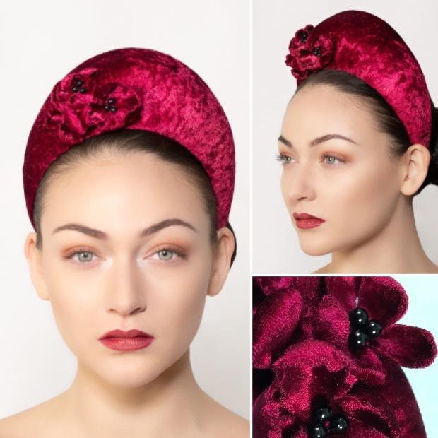 Kate - handcrafted ruby red halo crown, created by Bognor Regis milliner, Isabella Josie