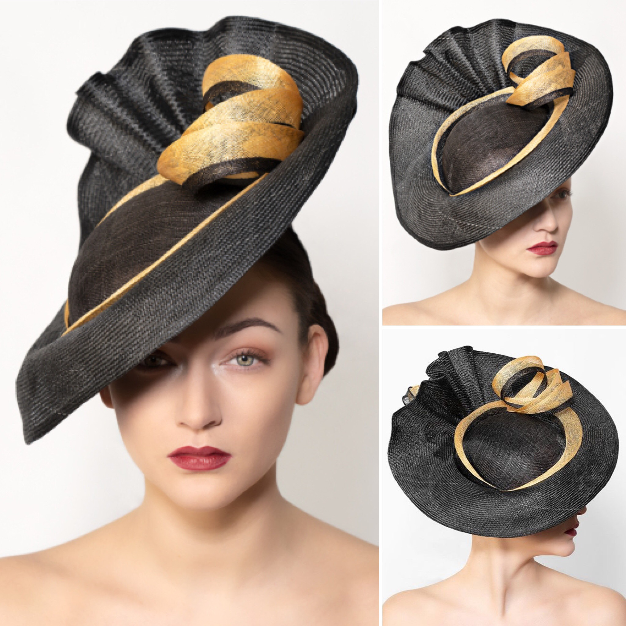 Black and Gold Ascot Hat, created by West Sussex Hat Maker Isabella Josie