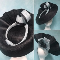 Black Parisisal and Cornflower Blue Headpiece by Isabella Josie, commission