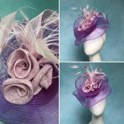 Purple and Pink Crin Hat for Wedding Guest, Commission. Designed and crafted by Isabella Josie