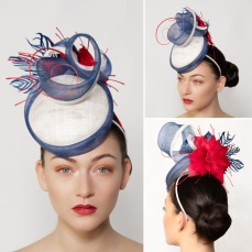 Megan, Red, white and blue perching hat, hand crafted by West Sussex Milliner, Isabella Josie
