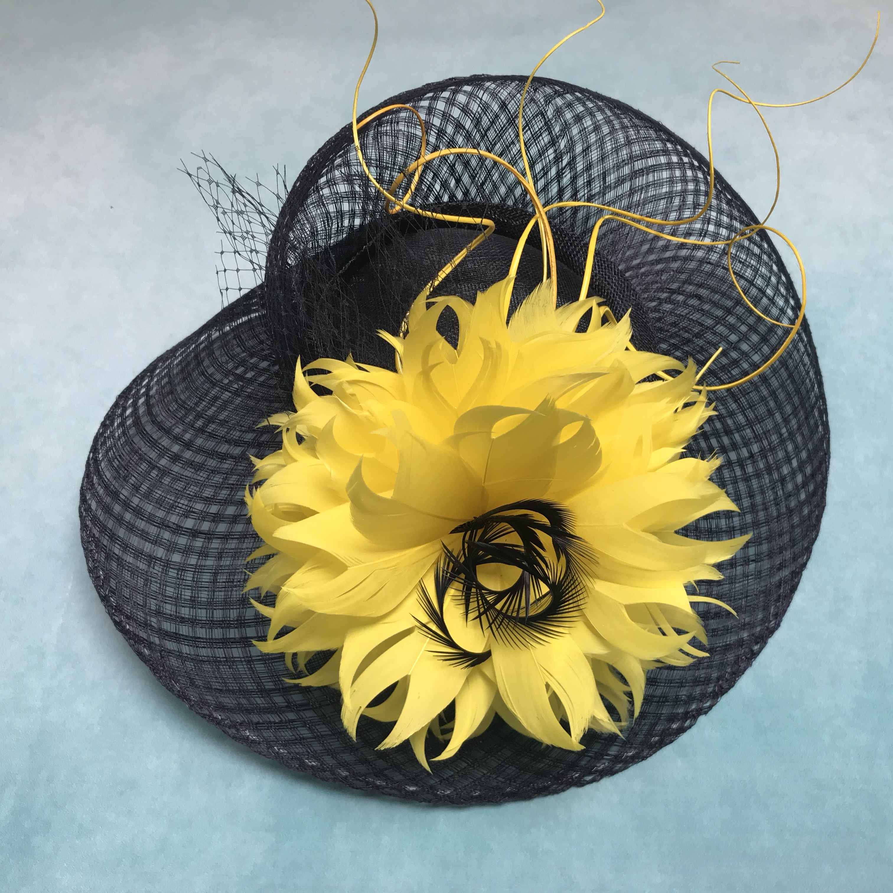 Navy and Yellow Ascot Hat handcrafted by Isabella Josie Milliner