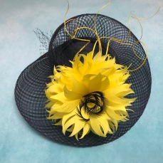 Navy and Yellow Ascot Hat handcrafted by Isabella Josie Millinery