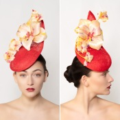 Raceday Headwear by Isabella Josie Millinery. Mia: Red Sculptural Teardrop with Yellow silk abaca flowers