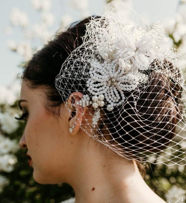 Isabella Josie French Beaded Headpiece with Bridal Veil