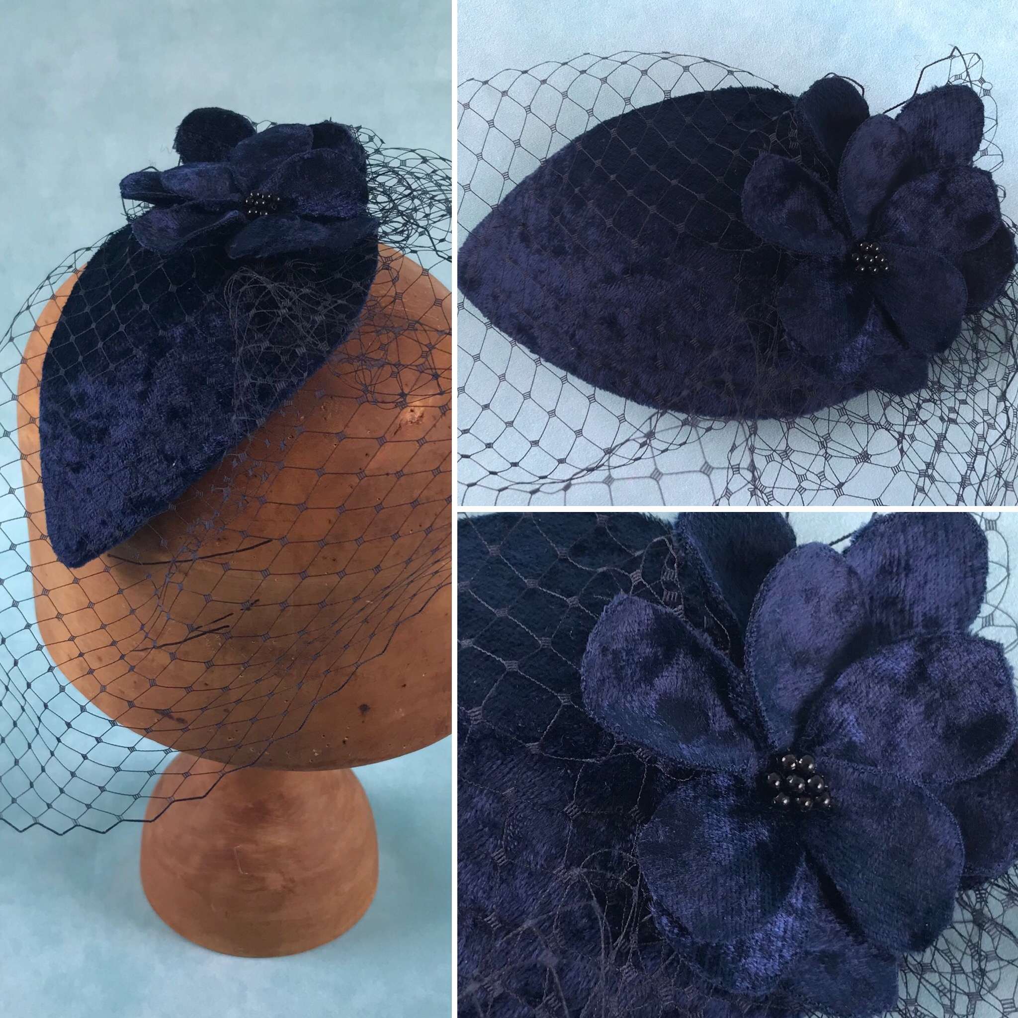 Vintage Style Teardrop Headpiece with Veiling by Isabella Josie Millinery