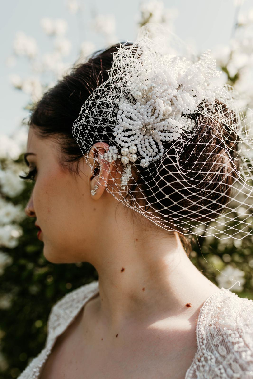 French Bridal Headpiece with Veiling by Isabella Josie Millinery