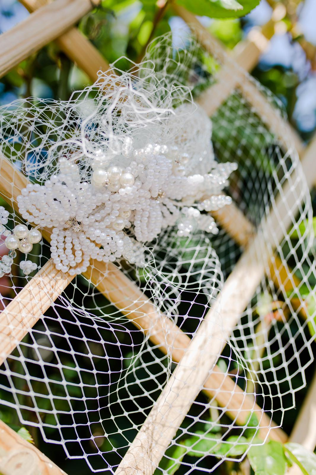 French Beaded Headpiece with Bridal Veil by Isabella Josie Millinery