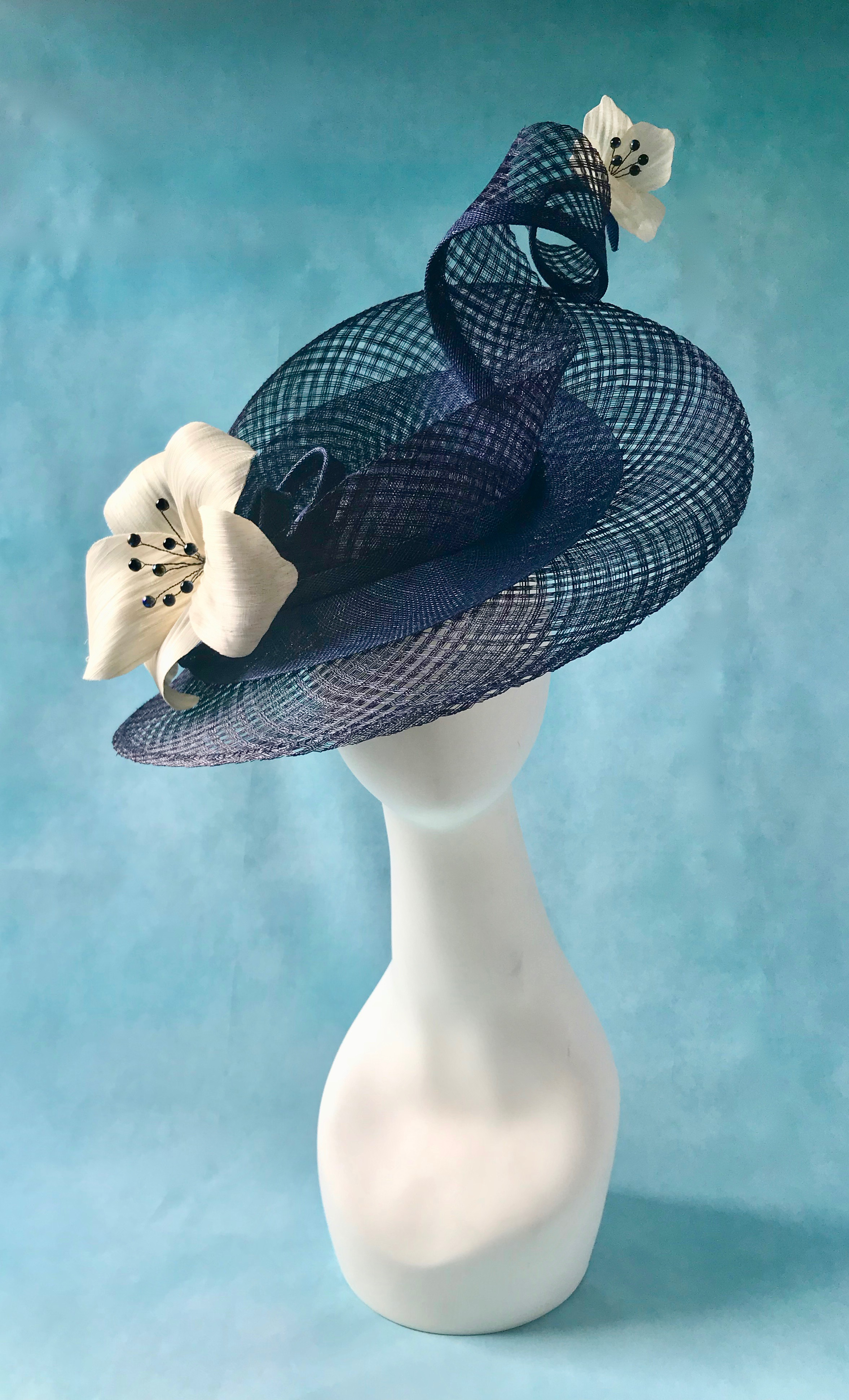 Navy and Ivory Sculptural Hat designed for Ladies Day at Royal Ascot by Isabella Josie Millinery