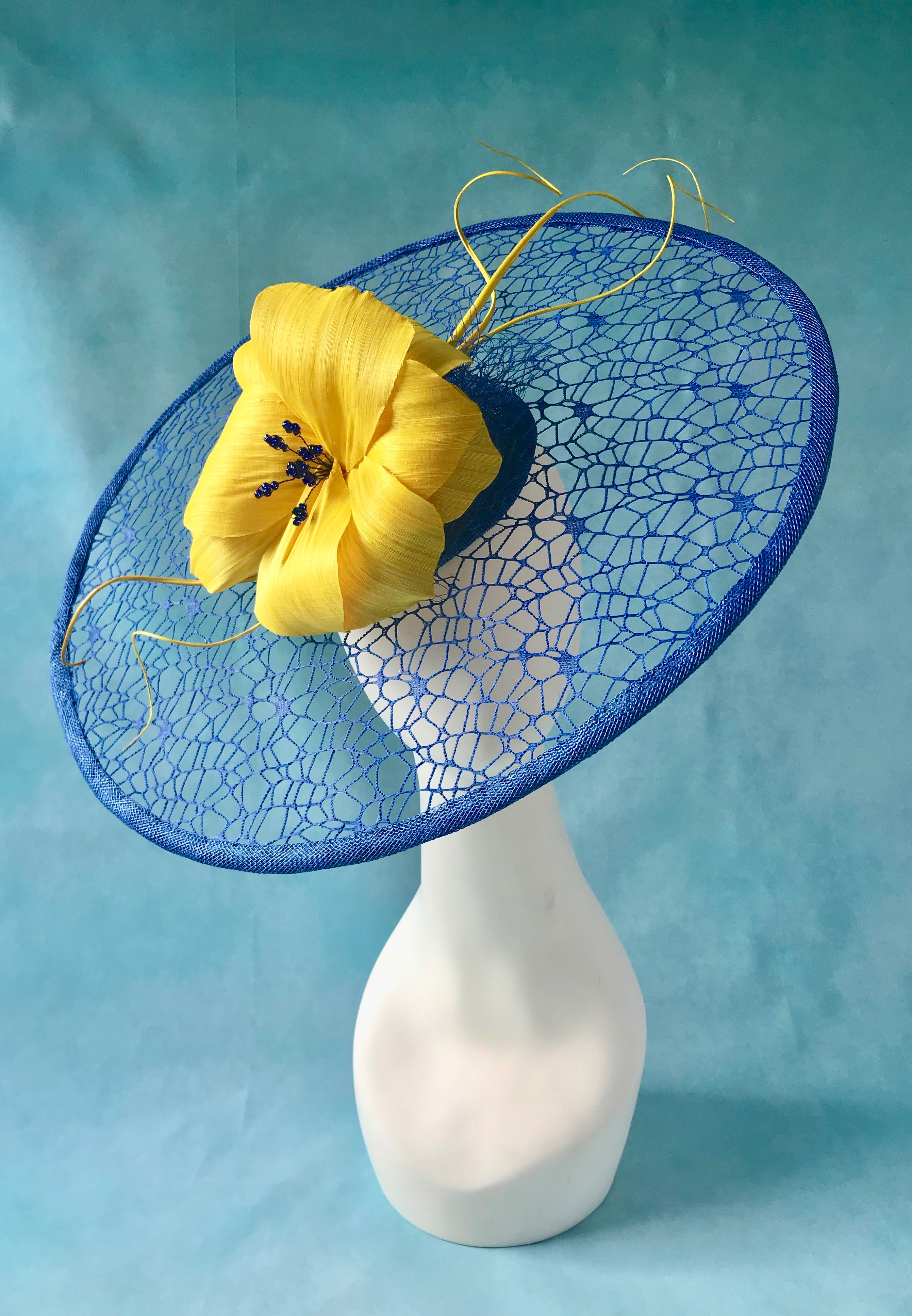 Royal Blue and Yellow Mesh Hat designed for Ladies Day at Royal Ascot by Isabella Josie Millinery
