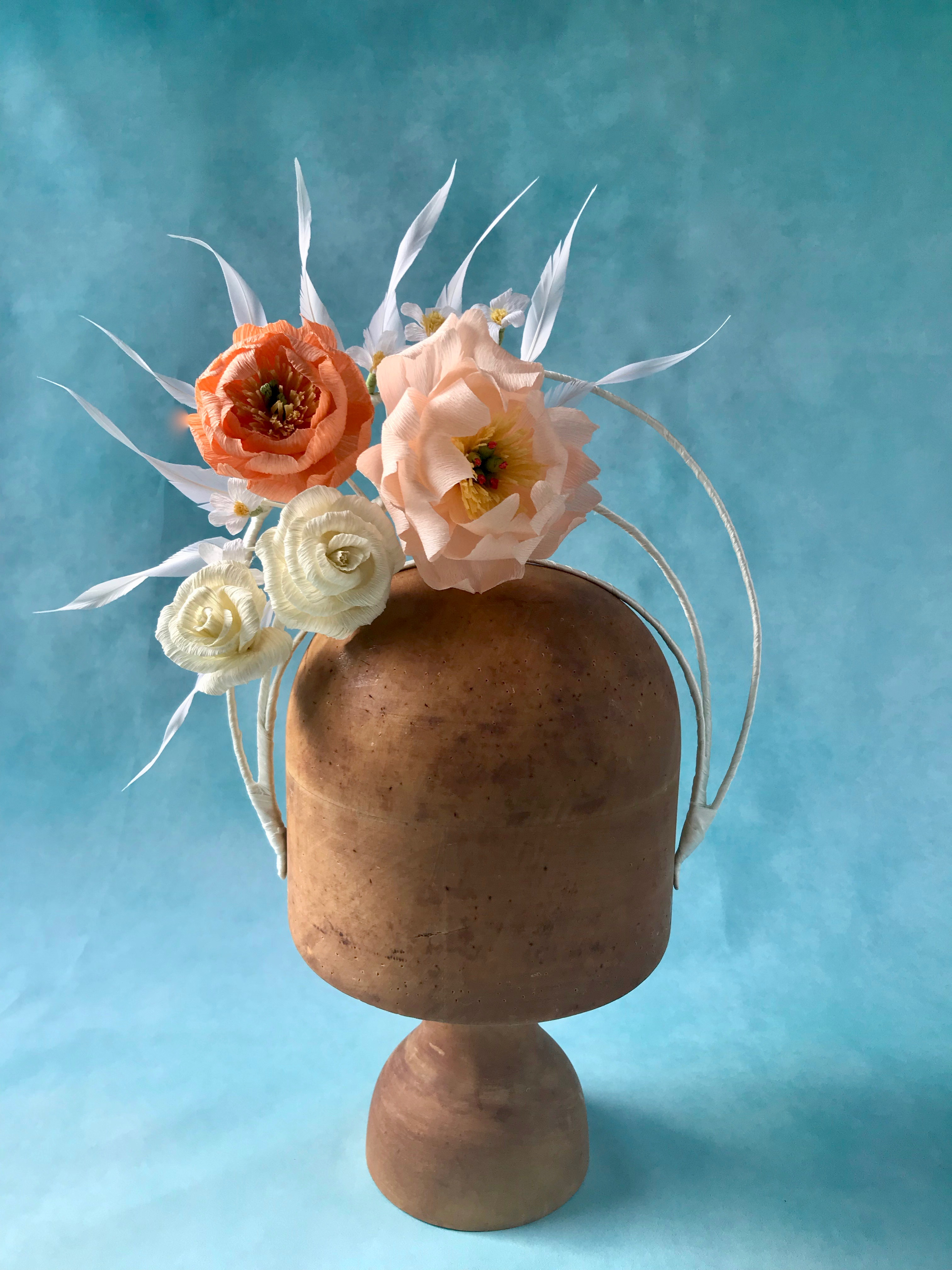 Bridal Halo Crown by Isabella Josie Millinery. Flowers by Petal and Bird