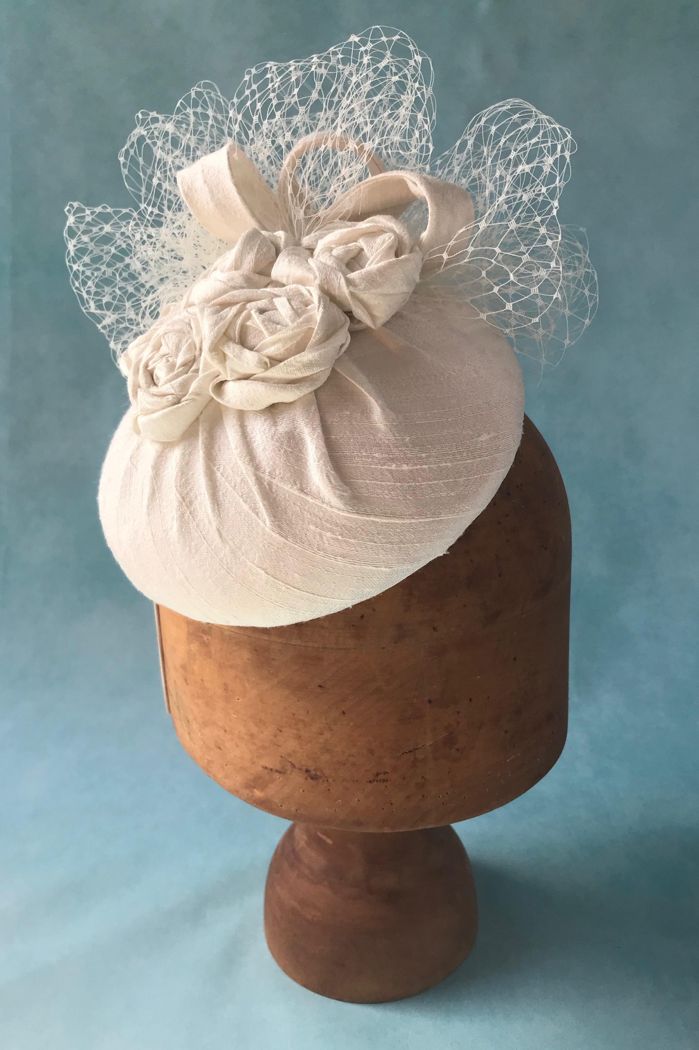 Silk Ivory Cocktail Hat by West Sussex Hat Maker Isabella Josie