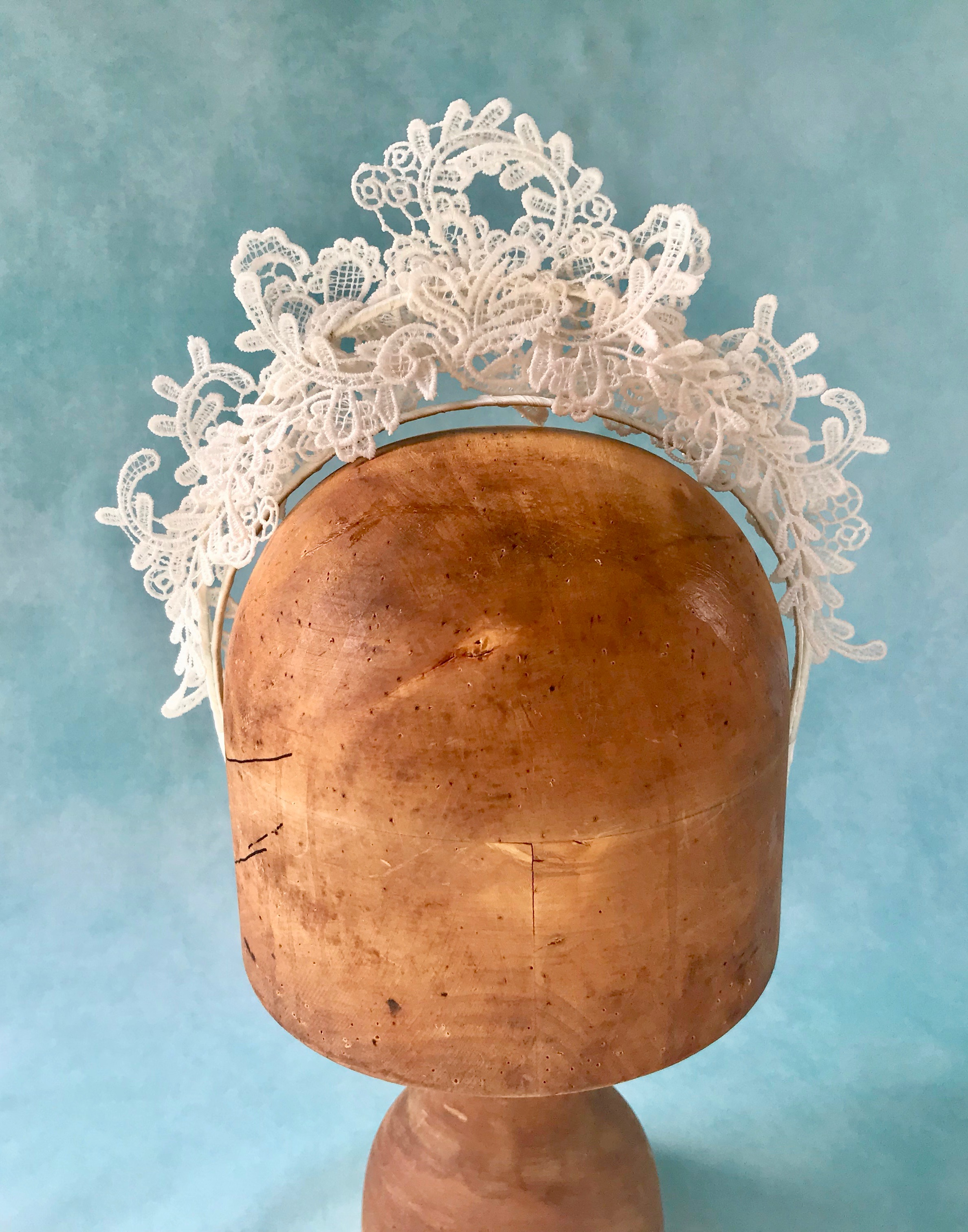 Ivory Lace Bridal Crown by Isabella Josie Millinery