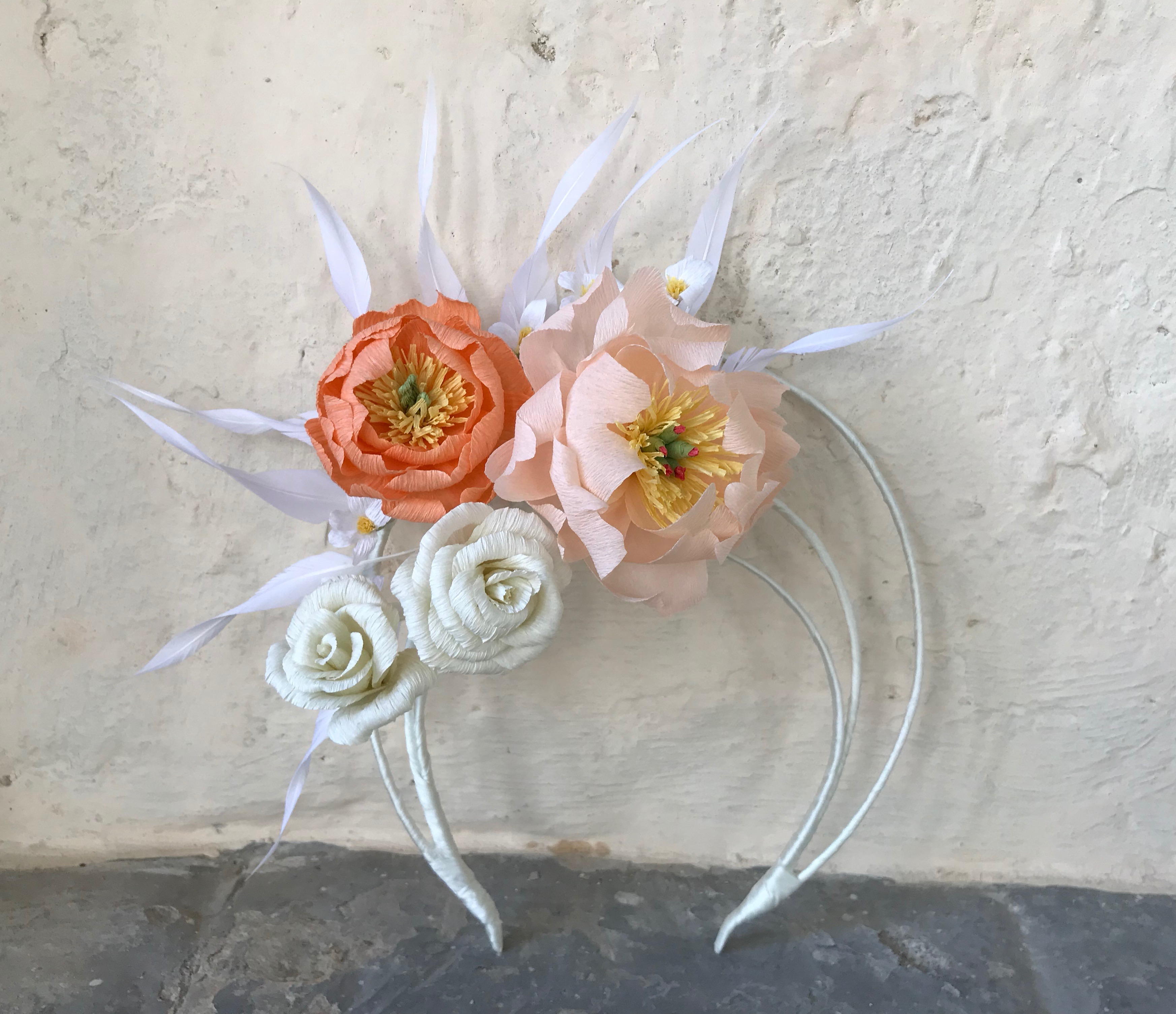Bridal Halo Crown with Feather and Flower by Isabella Josie Millinery. Flower by Petal and Bird.