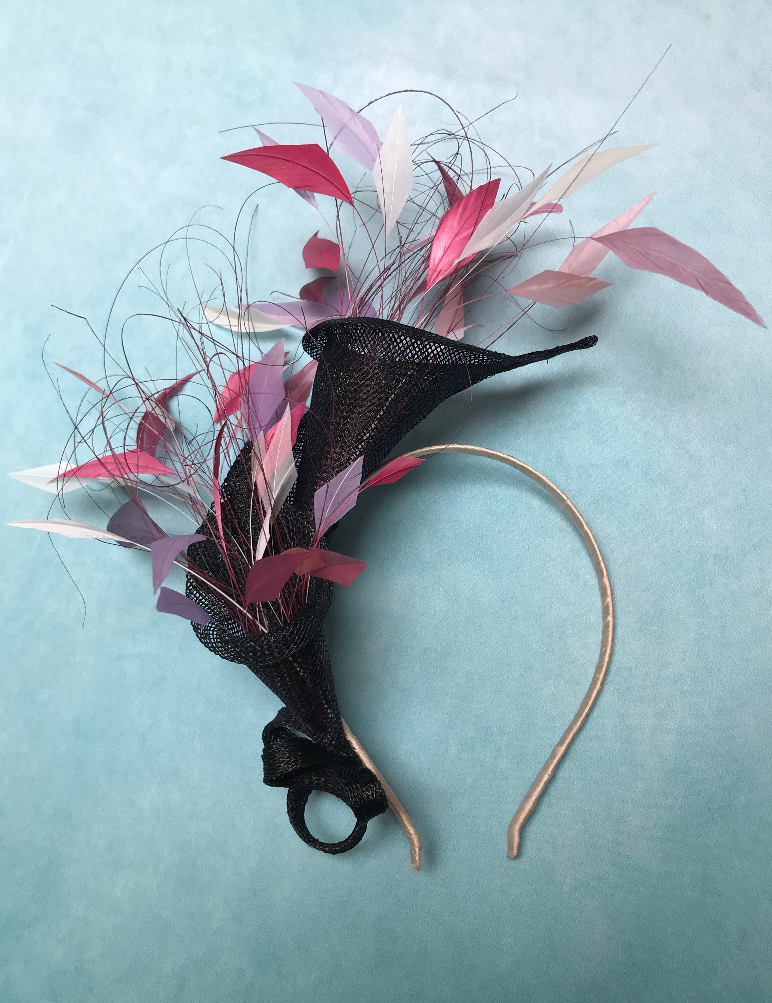 Pink, Lilac and Black Feather Fascinator, Bespoke order for Goodwood Ladies Day