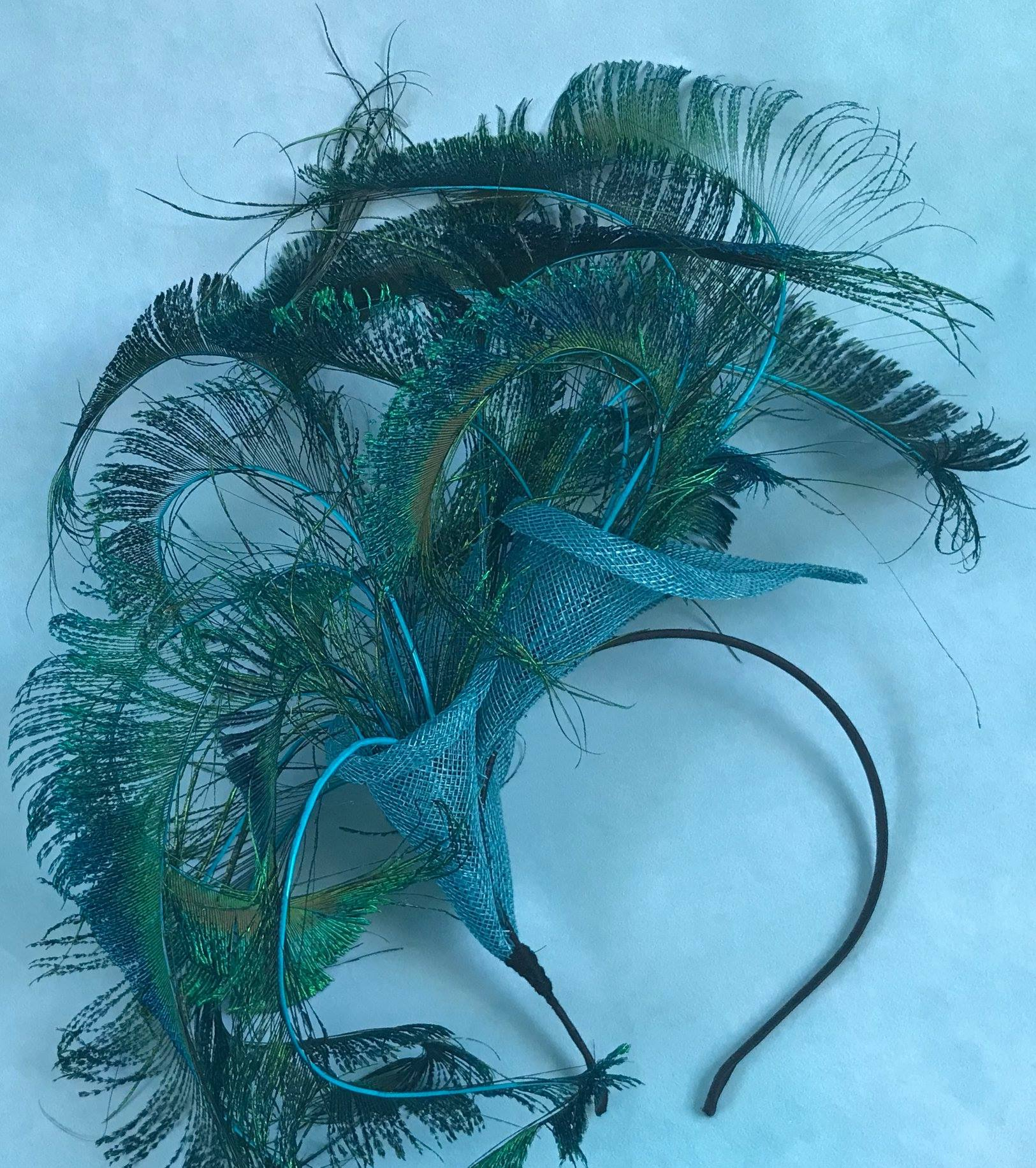 Teal Peacock Feather Fascinator by Isabella Josie Millinery