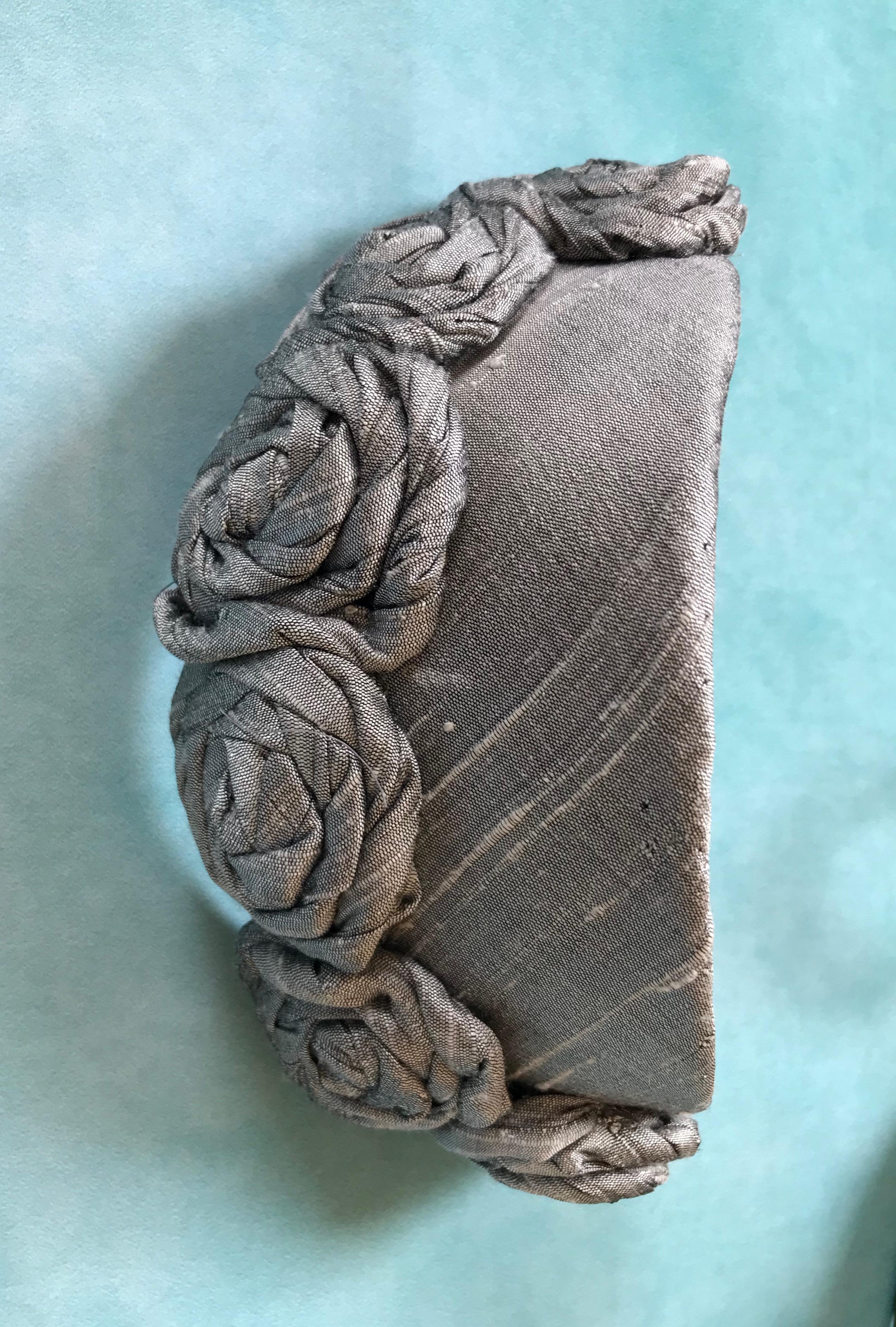 Vintage Style Silver Slub Silk Headpiece by Isabella Josie Millinery