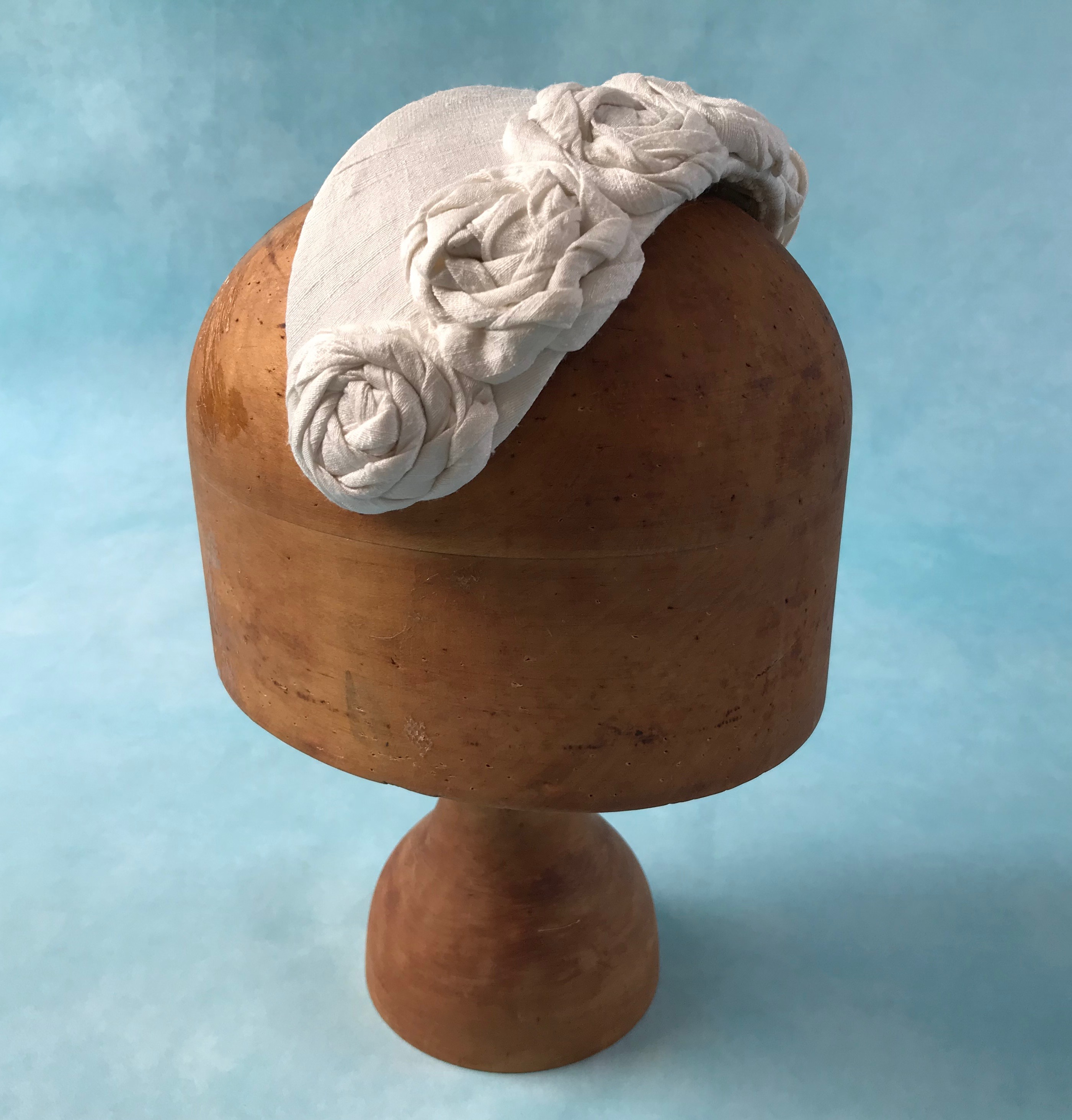 Ivory Slub Silk Bridal Half Hat with Rolled Silk Roses by Isabella Josie Millinery