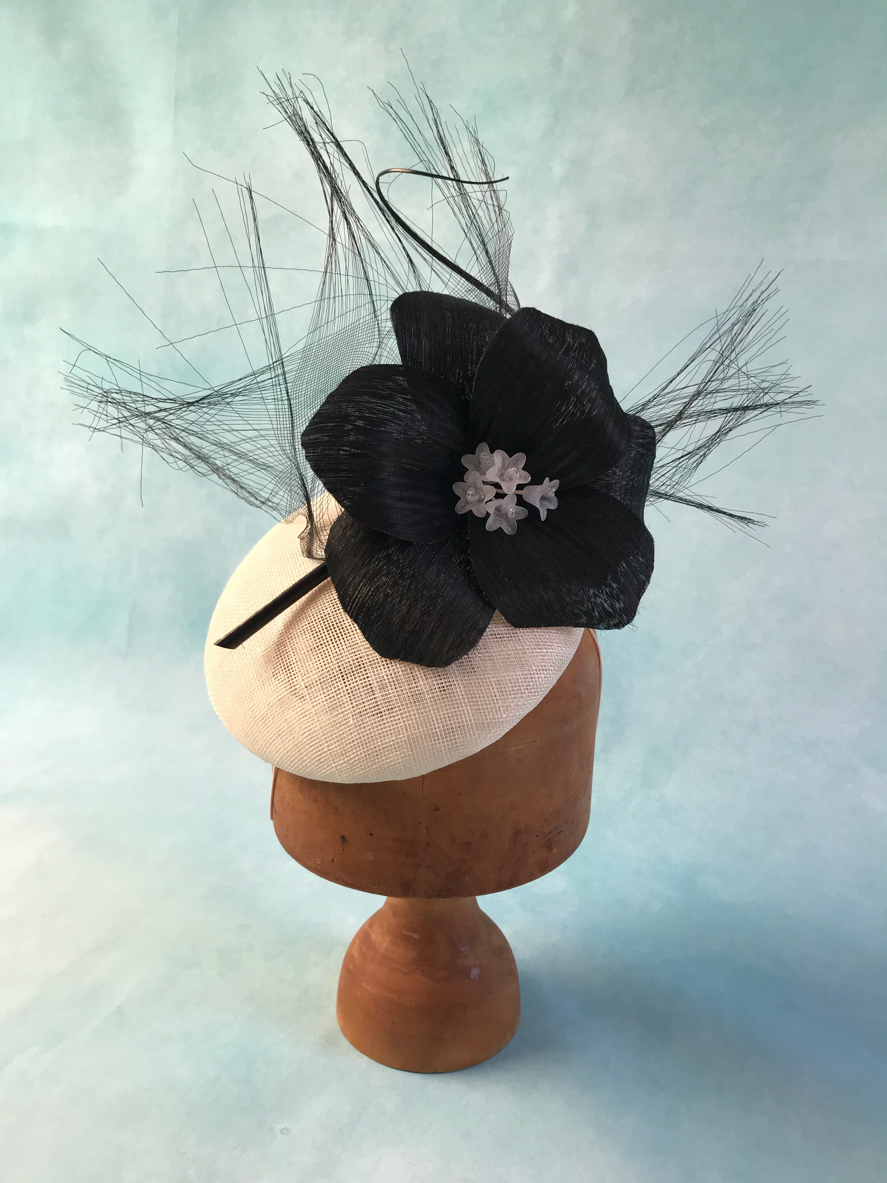Black and White Cocktail Hat by Isabella Josie