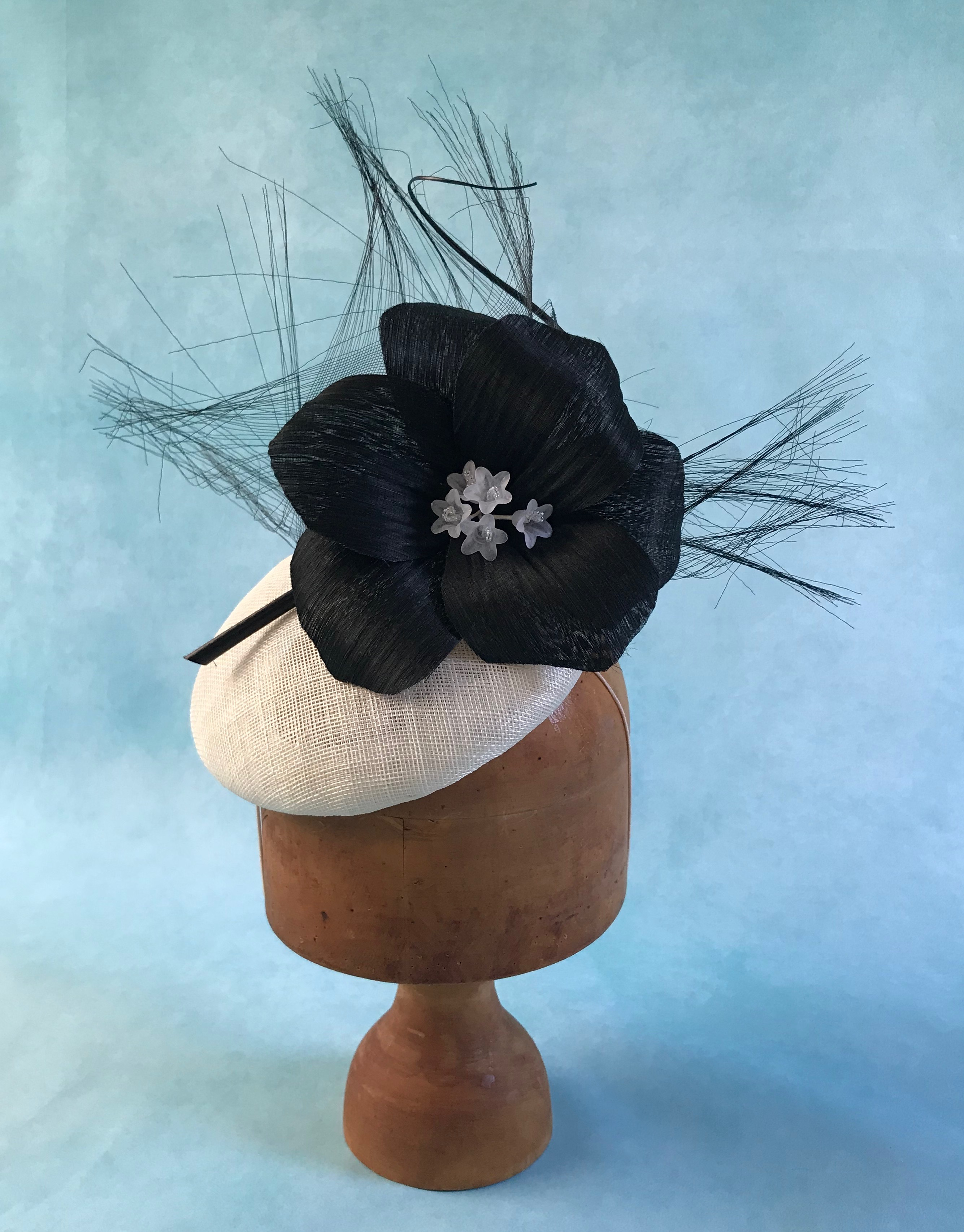 Black and White Button Hat with Black Silk Abaca Flower by Isabella Josie Millinery
