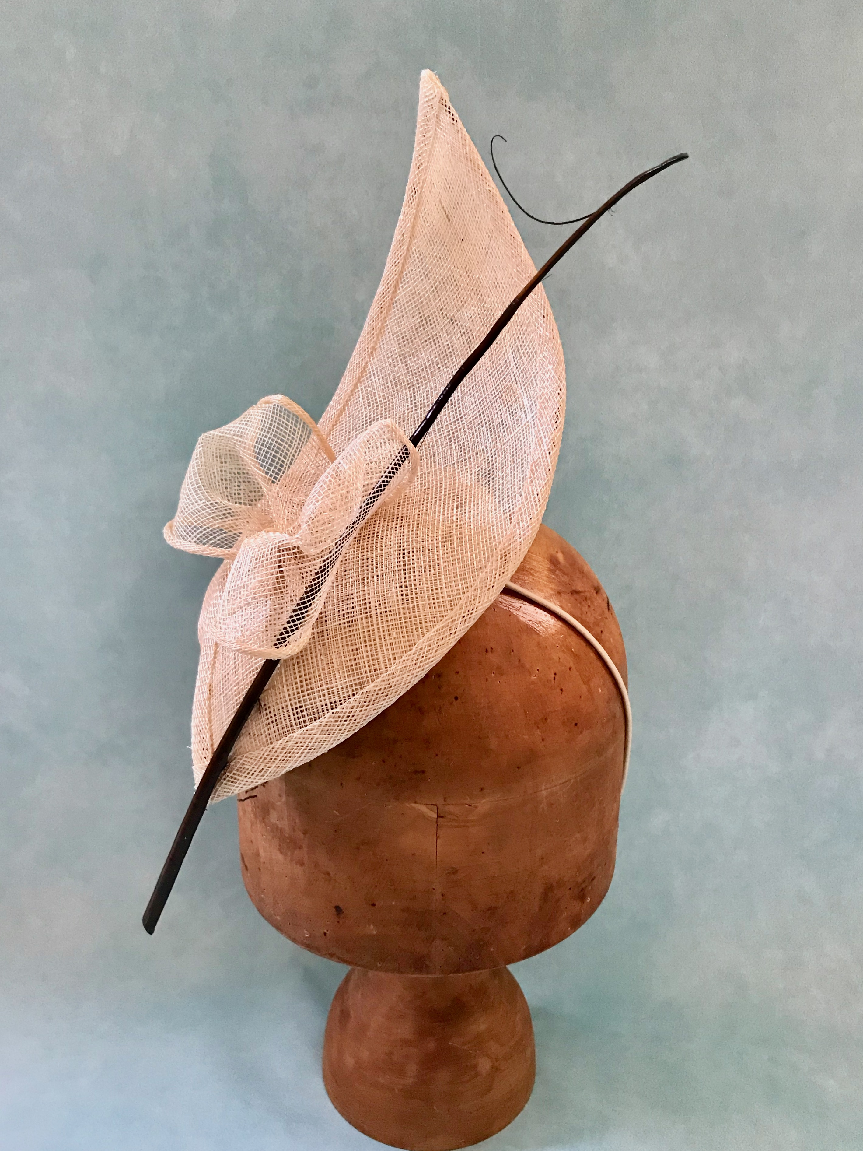 Natural Nude and Black Sculptural Hat by Isabella Josie