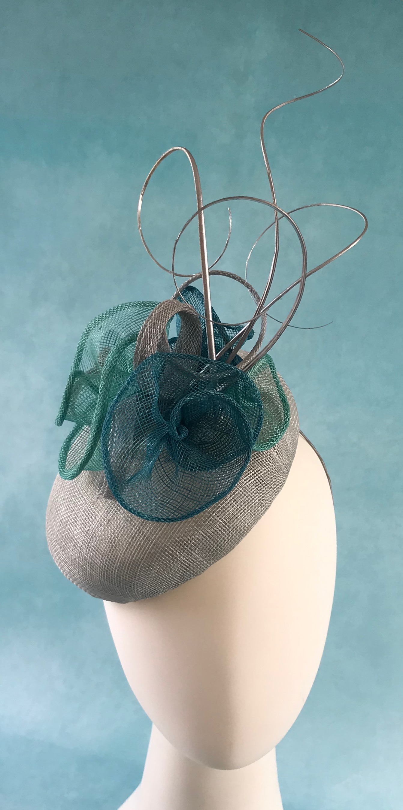 Silver and Aqua Oval Cocktail Hat by Isabella Josie Millinery