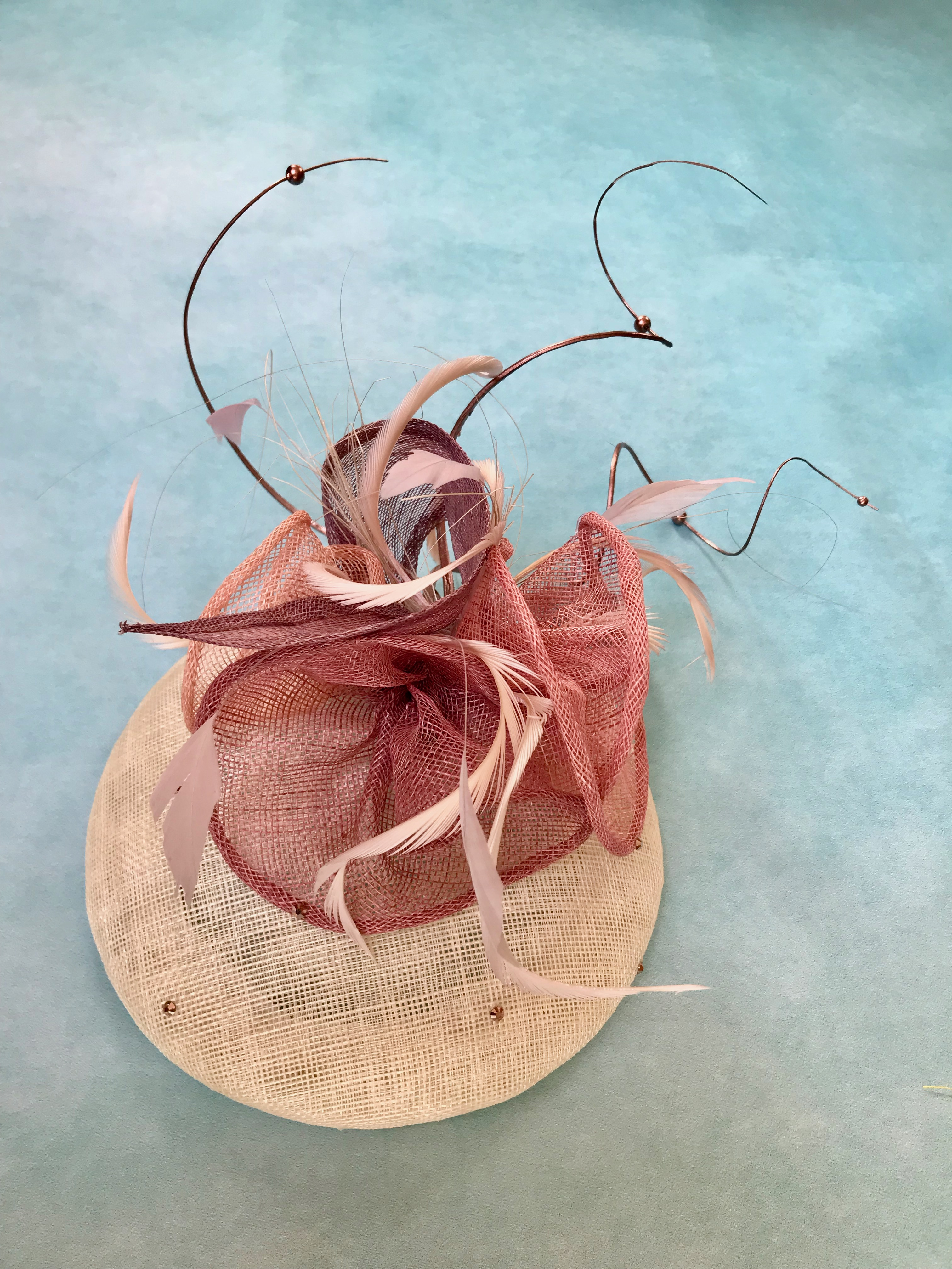 Ivory, Rose and Dusky Pink Cocktail Hat by Isabella Josie Millinery