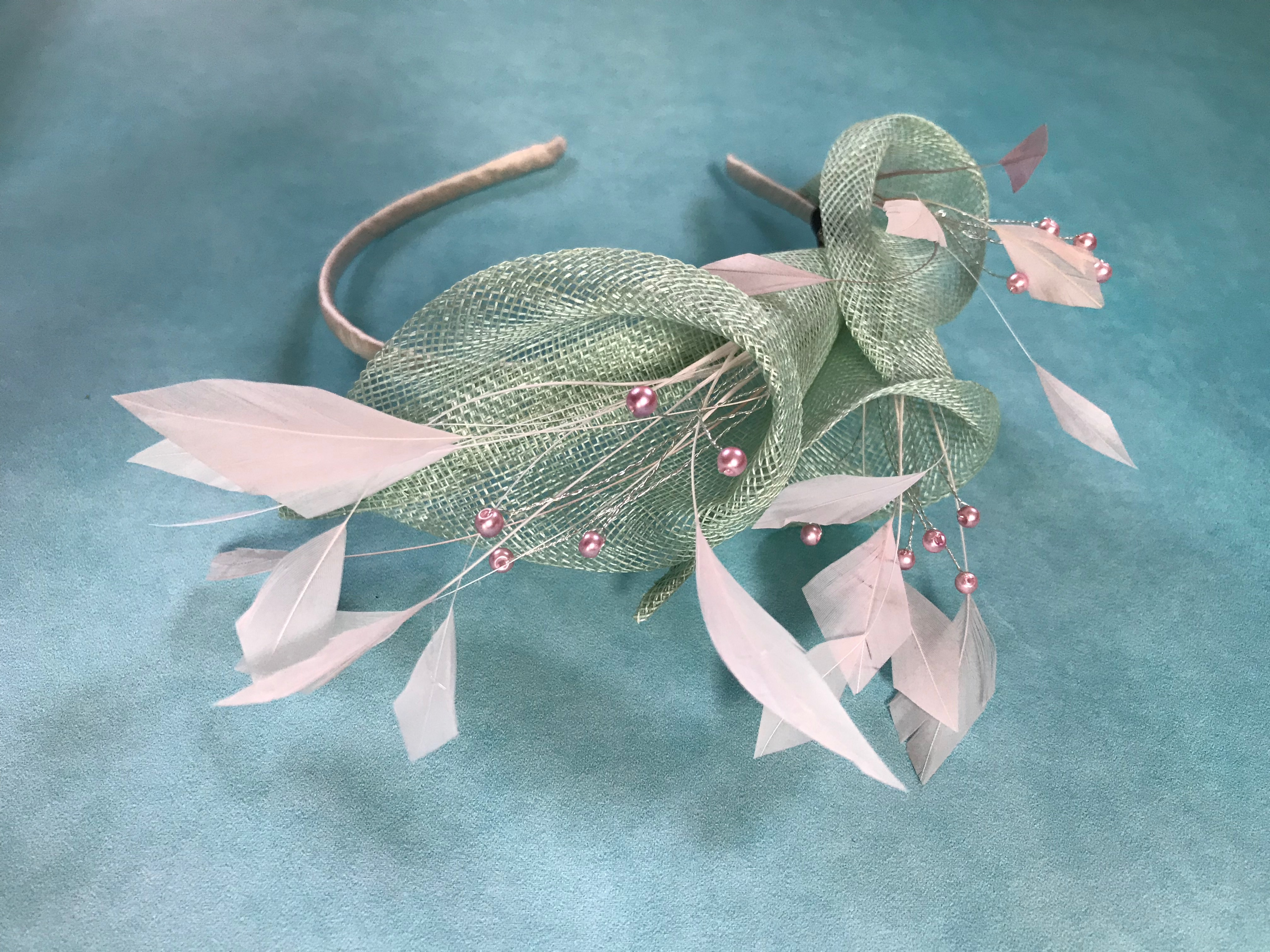 Mint and Pale Pink Fascinator - bespoke order by Isabella Josie Millinery for Mother of the Groom