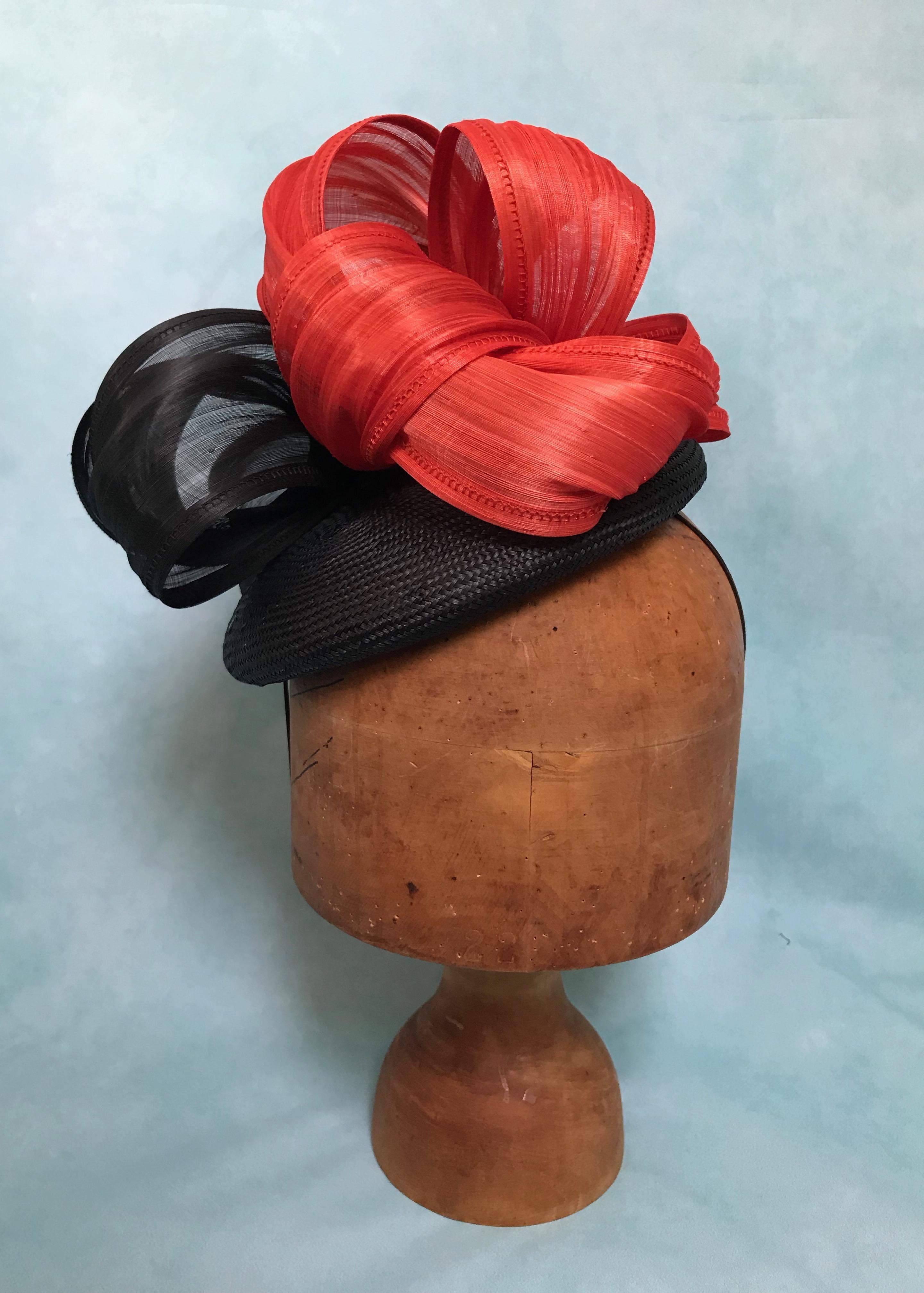 Orange and Black Silk Abaca Hat on Parisisal Base by Isabella Josie Millinery