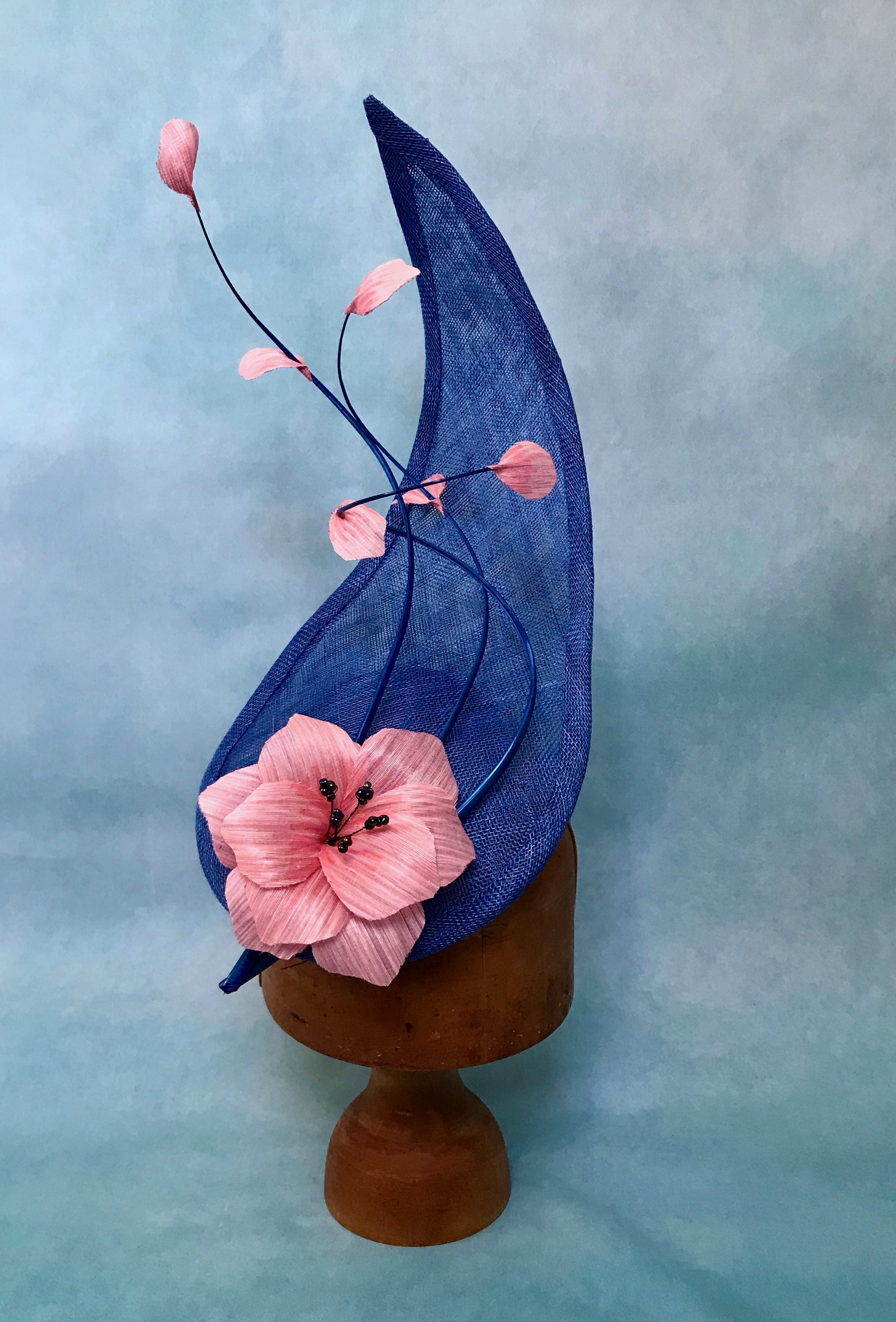 Royal Blue Sculptural Hat with Feather Quills and Pink Silk Abaca Flower