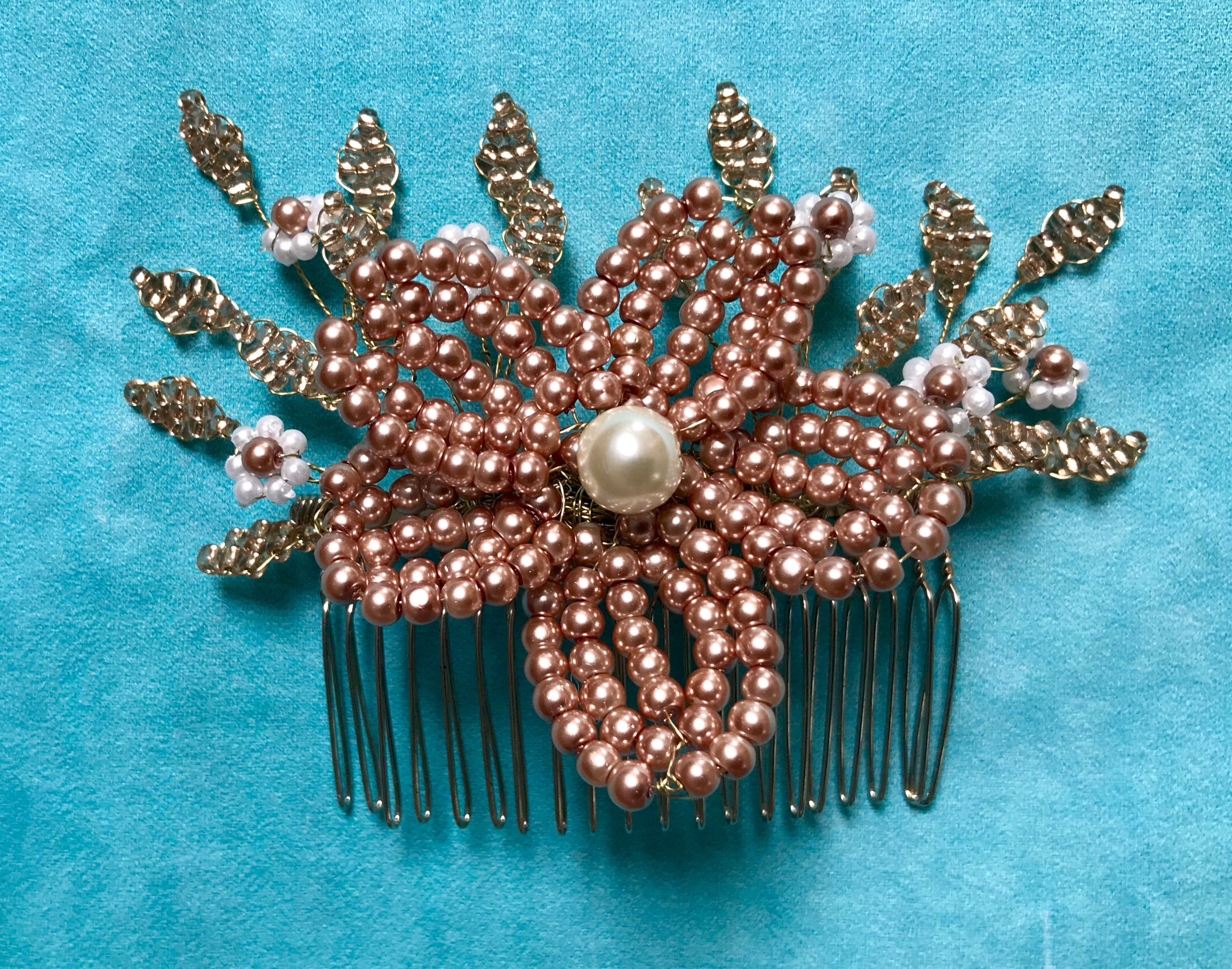Rose Gold and Pearl French Beaded Bridal Hair Comb by Isabella Josie Millinery
