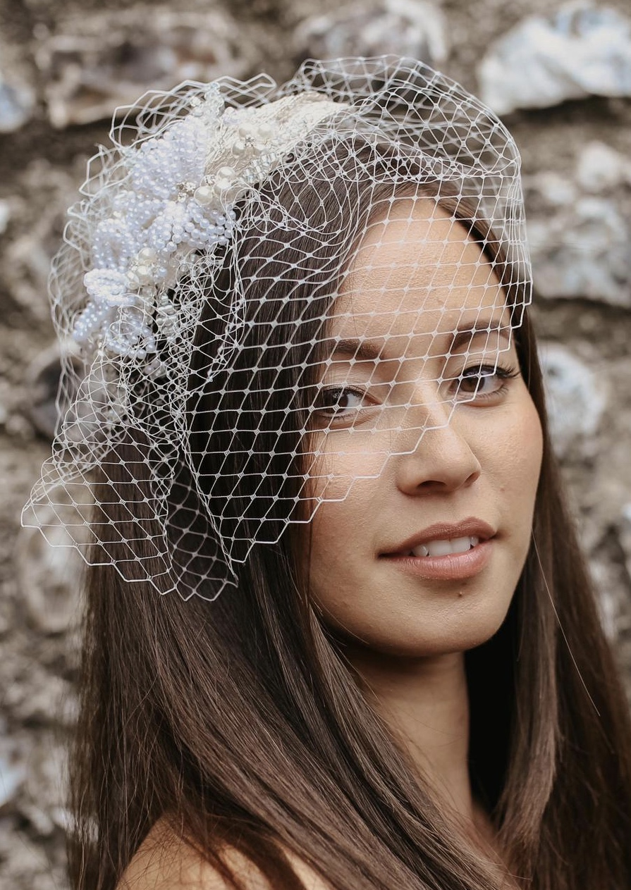 French Beaded Bridal Headpiece with Birdcage Veil